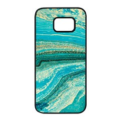Mint,gold,marble,nature,stone,pattern,modern,chic,elegant,beautiful,trendy Samsung Galaxy S7 Edge Black Seamless Case by 8fugoso