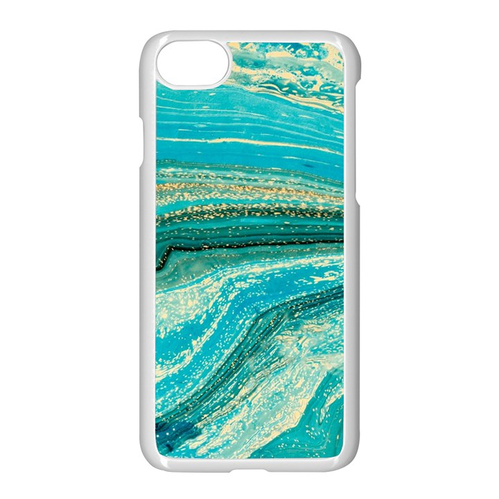 Mint,gold,marble,nature,stone,pattern,modern,chic,elegant,beautiful,trendy Apple iPhone 7 Seamless Case (White)