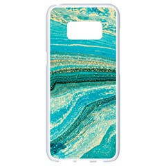 Mint,gold,marble,nature,stone,pattern,modern,chic,elegant,beautiful,trendy Samsung Galaxy S8 White Seamless Case