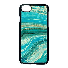 Mint,gold,marble,nature,stone,pattern,modern,chic,elegant,beautiful,trendy Apple iPhone 8 Seamless Case (Black)