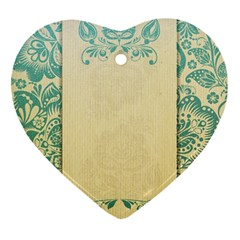 Art Nouveau Green Heart Ornament (two Sides) by 8fugoso