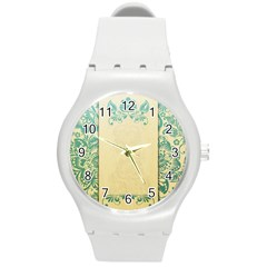 Art Nouveau Green Round Plastic Sport Watch (m) by 8fugoso