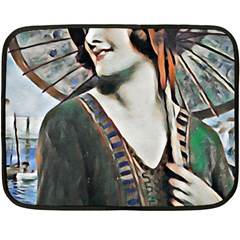 Lady Of Summer 1920 Art Deco Double Sided Fleece Blanket (mini)  by 8fugoso