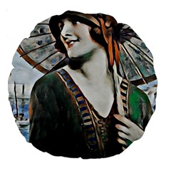 Lady Of Summer 1920 Art Deco Large 18  Premium Round Cushions by 8fugoso