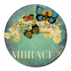 Embrace Shabby Chic Collage Round Mousepads by 8fugoso