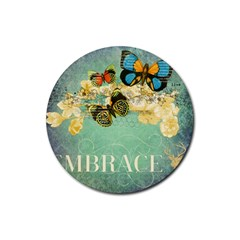 Embrace Shabby Chic Collage Rubber Coaster (round)  by 8fugoso