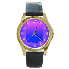 Abstract Bright Color Round Gold Metal Watch