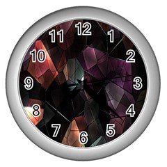 Crystals Background Design Luxury Wall Clocks (silver)  by Nexatart