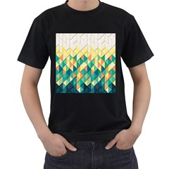 Background Geometric Triangle Men s T Shirt (black) (two Sided)