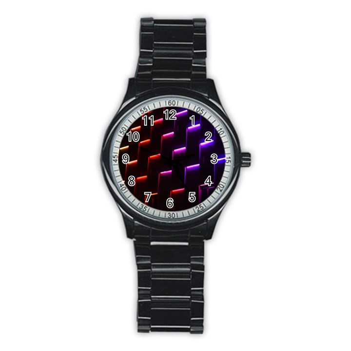 Mode Background Abstract Texture Stainless Steel Round Watch