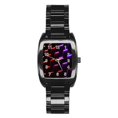 Mode Background Abstract Texture Stainless Steel Barrel Watch