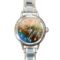 Pop Art Edit Artistic Wallpaper Round Italian Charm Watch