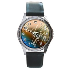 Pop Art Edit Artistic Wallpaper Round Metal Watch