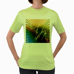 Pop Art Edit Artistic Wallpaper Women s Green T-Shirt