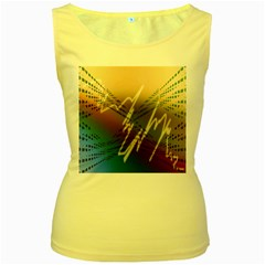 Pop Art Edit Artistic Wallpaper Women s Yellow Tank Top