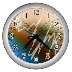 Pop Art Edit Artistic Wallpaper Wall Clocks (Silver)