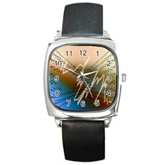 Pop Art Edit Artistic Wallpaper Square Metal Watch