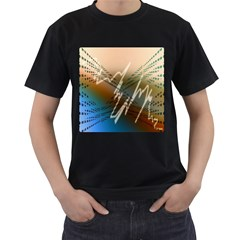 Pop Art Edit Artistic Wallpaper Men s T-Shirt (Black) (Two Sided)