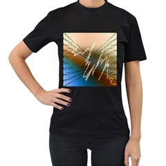 Pop Art Edit Artistic Wallpaper Women s T-Shirt (Black) (Two Sided)