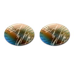 Pop Art Edit Artistic Wallpaper Cufflinks (Oval)