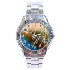 Pop Art Edit Artistic Wallpaper Stainless Steel Analogue Watch