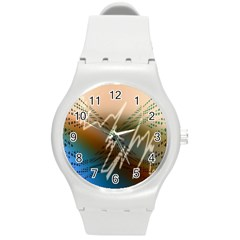 Pop Art Edit Artistic Wallpaper Round Plastic Sport Watch (m) by Nexatart