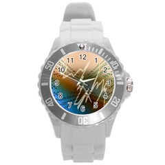 Pop Art Edit Artistic Wallpaper Round Plastic Sport Watch (L)