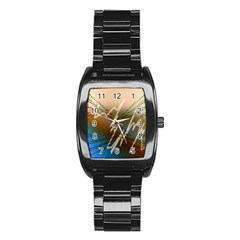 Pop Art Edit Artistic Wallpaper Stainless Steel Barrel Watch