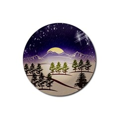 Background Christmas Snow Figure Rubber Round Coaster (4 Pack)  by Nexatart