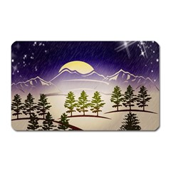 Background Christmas Snow Figure Magnet (rectangular)