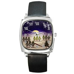Background Christmas Snow Figure Square Metal Watch by Nexatart