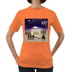 Background Christmas Snow Figure Women s Dark T Shirt by Nexatart