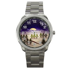 Background Christmas Snow Figure Sport Metal Watch