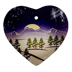 Background Christmas Snow Figure Heart Ornament (two Sides) by Nexatart