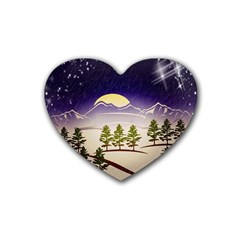 Background Christmas Snow Figure Rubber Coaster (heart)
