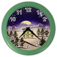Background Christmas Snow Figure Color Wall Clocks