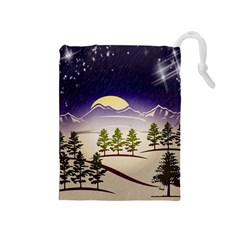 Background Christmas Snow Figure Drawstring Pouches (medium)  by Nexatart
