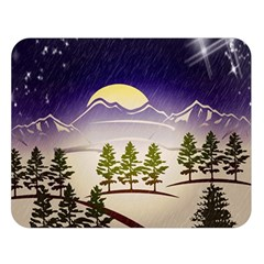 Background Christmas Snow Figure Double Sided Flano Blanket (large)