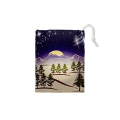 Background Christmas Snow Figure Drawstring Pouches (xs)  by Nexatart