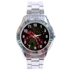 Background Texture Pattern Stainless Steel Analogue Watch