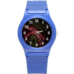 Background Texture Pattern Round Plastic Sport Watch (s) by Nexatart