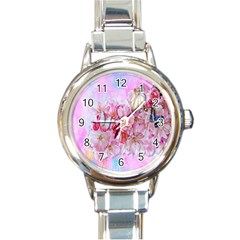 Nice Nature Flowers Plant Ornament Round Italian Charm Watch