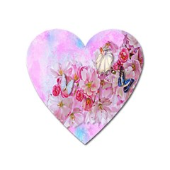 Nice Nature Flowers Plant Ornament Heart Magnet by Nexatart