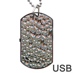 Droplets Pane Drops Of Water Dog Tag Usb Flash (two Sides) by Nexatart