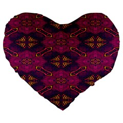 Pattern Decoration Art Abstract Large 19  Premium Flano Heart Shape Cushions by Nexatart