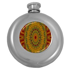 India Mystic Background Ornamental Round Hip Flask (5 Oz) by Nexatart