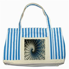 Mandelbrot Fractal Abstract Ice Striped Blue Tote Bag by Nexatart