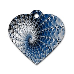 Mandelbrot Fractal Abstract Ice Dog Tag Heart (one Side)