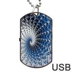 Mandelbrot Fractal Abstract Ice Dog Tag Usb Flash (one Side) by Nexatart