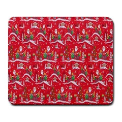 Red Background Christmas Large Mousepads by Nexatart